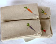 Cloth Napkins, Root Vegetables on Natural Linen and Cotton Blend, Set of 8 Sixteen inch Dinner Napkins