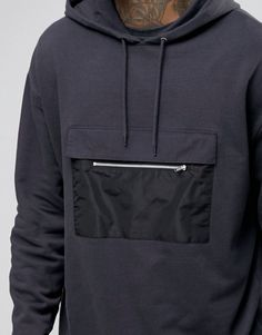 ASOS Hoodie With Drawstring Hem & Zip Pocket at ASOS. Shop this season's must haves with multiple delivery and return options (Ts&Cs apply). New T Shirt Design, Japanese Street Fashion, Polo T Shirts, Outdoor Outfit, Textiles, Streetwear Fashion, Cool Outfits, Street Wear, Menswear
