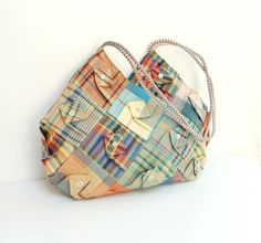 Folded Plaid Bag - Vintage Plaid Fabrics Patchwork.