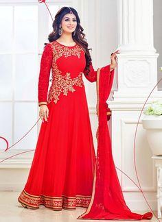 Freshy Red Georgette Party Wear Anarkali Salwar Kameez