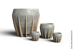 """""""La Morena"""" is a small pot that combines two materials rarely seen together, wood and cement. The combination of both results in an honest and balanced artifact where concrete's stony aesthetics are countered and warmed by wood's organic looks. Concrete Sculpture, Concrete Cement, Concrete Furniture, Concrete Crafts, Concrete Projects, Concrete Planters, Cement Design, Wood Design, Beton Diy"""