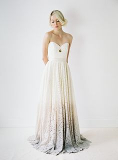 If you don't want to wear ombre hair, you can always go for an impressive ombre wedding gown like many celebrities already did. Ombre Wedding Dress, Ivory Lace Wedding Dress, Wedding Dress Sizes, Best Wedding Dresses, Wedding Gowns, Ombre Gown, Wedding Shoes, Lace Dress, Lila Rock