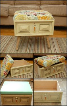 Got an old drawer? Give it a new life by turning it into an ottoman with storage! http://theownerbuildernetwork.co/c6z2 Having storage spaces within your furniture is a clever way to keep a house clutter free, especially if your rooms are small. This ottoman is a great addition to the living room or even the bedroom where you could hide photo albums, books or other belongings not used very frequently.