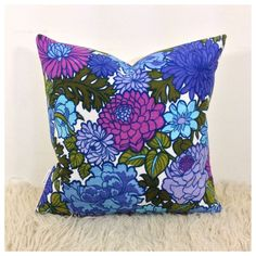 Cushion Cover Vintage Retro 1970s Purple Flower Power Fabric