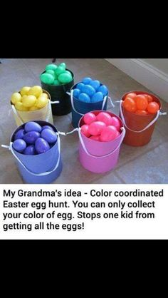 Easter egg hunt idea to use with kids of multiple ages or abilities. Each kid is assigned a colour and should only collect those coloured eggs.