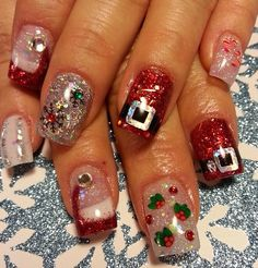 How to try the ribbon inspired christmas nail art design acrylic nails by lora prinsesfo Gallery