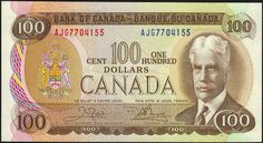 Canadian Banknotes 100 Dollar Note 1975 Sir Robert Borden, Prime Minister of Canada