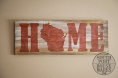 Show your love for the Badger State with this distressed wooden sign! You see- instead of an O, it's Wisconsin- how clever! Each sign is painted and distressed by hand- so they're all a little differe