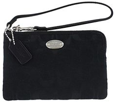 Coach Corner Zip Women's Signature Wristlet Wallet Black ** To view further for this article, visit the image link. #WristletWallet