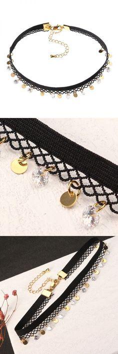 Jassy® fine necklace punk lolita anallergic 18k gold plated shiny zircon gold coin black lace choker konstantino necklaces pendants #inspirational #necklaces #pendants #necklace #pendants #australia #necklace #pendants #for #moms #necklaces #large #pendants