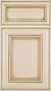 Victorian Mitered Door Painted Antique White with Espresso Glaze  M and J Woodcrafts - Your Wholesale Cabinet Door Manufacturers