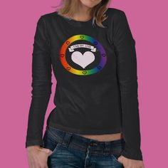 Love is Love Original Rainbow   (Lesbian Gay Trans Bisexual Flag) and Pink Heart Long Sleeve shirts for women by Les Cupidines. Starting at $26.95