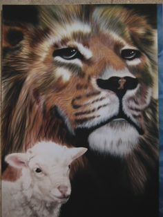 Lion and lamb on crescent board.  Done as a give-a-way for Big Cat Rescue