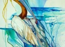 Brown pelican watercolor by Antiguan artist Gilly Gobinet