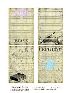 Ephemera's Vintage Garden - journal cards.