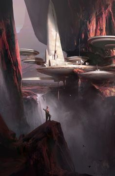 ArtStation - In the red canyon, by Ruxing Gao