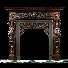 A large, richly carved oak Italian 19th century Renaissance chimney. Of typical North Italian / Venetian format, the frieze centered with a mask of Bachus the Roman wine god, within a scrolled cartouche flanked by foliate / fish tailed amorini and scrolling foliage on the side panels , and bearded horned Satyr masks within draped cartouches on the endblocks. This is supported on Ionic capitals over male and female Atlanteans, with further grinning Bacchic horned masks centerfield.