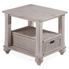 White end table with Wicker