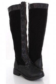 Black Faux Leather Suede Woven Lace Zip Tall Flat Boots