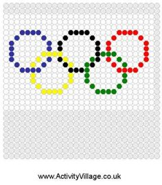 Olympic Rings Fuse Bead Pattern - Resources for the Olympics and/or Beads Awards Fuse Bead Patterns, Perler Patterns, Beading Patterns, Cross Stitch Patterns, Knitting Patterns, Perler Beads, Olympic Crafts, Olympic Games, Fusion Beads