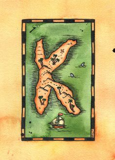READY-TO-SHIP Letter K Treasure Map / 5 x 7 by paintandink on Etsy  Art by Alison Murray Whittington  #mapart #paintandink #treasuremap #nautical #nauticalart #initial #personalized #cartographicart