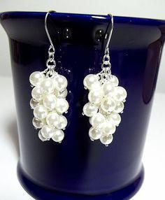 White Pearl Cluster Earrings Mom Sister by DelaneyJeanJewelry, $12.95