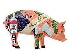 Pigs in the City Ornament Fine Swine Dept 56  Only the finest reserve will do for this award winning winemaker. He has just taken the prize at the latest tasting of his BOARdeaux and SOWPIGnon!   This Adorable Ornament is from Dept 56's Pigs in the City Collection. Heavy Resin, brightly colored pigs issued in various themes in 2005. The collection was retired in 2006.