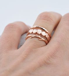 Pebble, Textured & Twig Stacking Ring Set by Colby June on Scoutmob