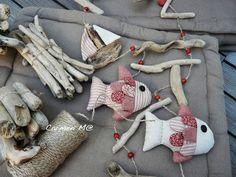 Barco, peces, cuerda y madera lavada. Driftwood.