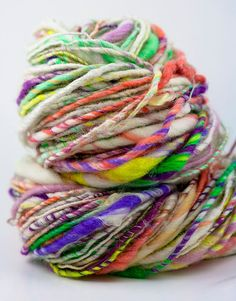 Rio single ply handspun art yarn by MagnoliaHandspun on Etsy. More gorgeous yarn for my stash! Spinning Yarn, Hand Spinning, Knitting Yarn, Knitting Patterns, Wool Yarn, Knitting Projects, Crochet Projects, Art Fil, Yarn Inspiration