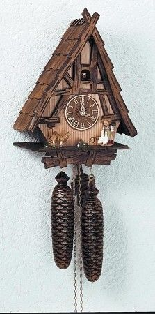 Cuckoo Kingdom, Inc - Cuckoo Clock, A Frame Deep Carved House, Dog, Model