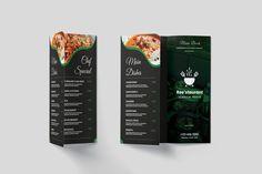 Evergreen Trifold Restaurant Menu #restaurant #business #cafe Restaurant Menu Template, Menu Restaurant, Brand Assets, Instagram Design, Cafe Food, Pattern And Decoration, Flat Design, Brochure Design, School Design
