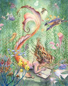 Mermaid Artwork, Mermaid Drawings, Art Drawings, Mermaid Paintings, Mermaid Prints, Sea Life Art, Ocean Life, Mermaid Fairy, Mermaids And Mermen