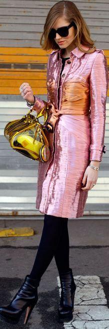 #Burberry Prorsum Metallic Trench Coat #Burberry Prorsum Bag #Trend Metallic