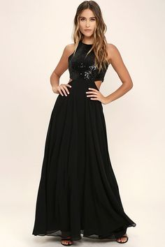It's impossible to feel anything other than absolute adoration for the Nothin' But Love Black Sequin Maxi Dress! Shimmering sequins stun across a sleeveless bodice with chiffon trim along the arm openings. Side cutouts (with a bit of elastic) accent the waist above a cascading chiffon maxi skirt. Hidden back zipper/clasp.