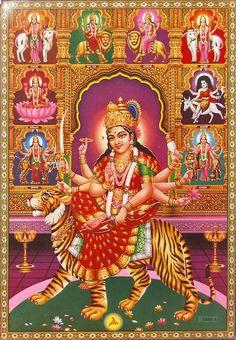 Nav Durga (via Dolls of India) Shiva Parvati Images, Durga Images, Shiva Shakti, Happy Navratri Wishes, Happy Navratri Images, All God Images, Navratri Wallpaper, Durga Ji, Maa Durga Image
