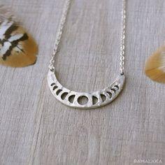 Collier court Moonphase - Laiton Argent – PAMALAKA - Créateur de bijoux boho chic