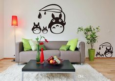 Anime Cartoon Raindrop Totoro Children'S Room Or Baby Nursery Children Wall Paper Sticker Wall Sticker Decal Home Decor For Anime Fans Buy Decals Buy Wall Decal From Joystickers, $18.09| Dhgate.Com