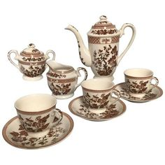 Nasco Demitasse Coffee Service - 11 Piece Set (3.040 ARS) ❤ liked on Polyvore featuring home, kitchen & dining, serveware, coffee & tea service, tea plate, tea pitcher, two handled cup, ceramic plates and stamping plates