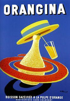 Orangina by Bernard Villemot - Vintage Advertising Poster, advertising, classic posters, food, free download, free posters, free printable, french poster, graphic design, printables, retro prints, vintage, vintage posters, vintage printables