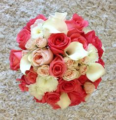 Coral and White Bridal Bouquet.  Flowers of Charlotte loves this!  Find us at www.charlotteweddingflorist.com