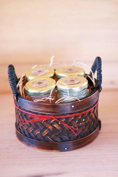 Pure Raw Honey Tea Gift set of 4 with brown gift by honeyteathyme, $27.00