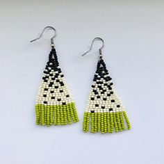 Items similar to Salt, Pepper, & Lime Beaded Fringe Earrings on Etsy Seed Bead Jewelry, Seed Bead Earrings, Diy Earrings, Beaded Jewelry, Hoop Earrings, Seed Beads, Beaded Bead, Hama Beads, Jewellery