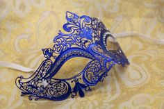 Mysterious Victorian Blue Venetian Mardi Gras Masquerade Mask with Sparkling Rhinestones on Etsy, $32.95