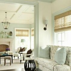 Paint color, match stick blinds, flowered sofa, ceiling detail
