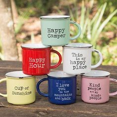 Big, over-sized mugs with a fun vintage color palette!