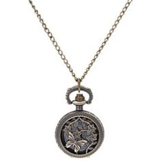 Women's Hollow Engraving Vintage Butterfly Round Dial Alloy Band Quartz Analog Necklace Watch Cool Watches Unique Watches Fashion Watch