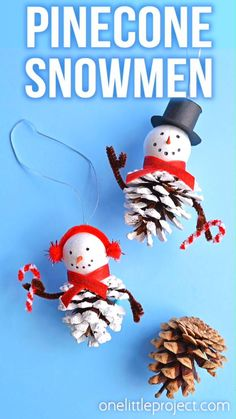 These pinecone snowman ornaments are so FUN and look super cute hanging from the tree! Such a fun Christmas craft for kids of all ages! Using dollar store supplies you can transform a regular old pinecone into a little bundled-up snowman complete with a top hat, scarf and earmuffs! It's a great homemade Christmas ornament you can pull out year after year. Or you can leave it up all winter long as a frosty decoration! Kids Christmas Ornaments, Snowman Ornaments, Handmade Christmas, Christmas Projects, Christmas Fun, Snowman Wreath, Christmas Crafts With Pinecones, Pine Cone Christmas Decorations, Christmas Party Snacks