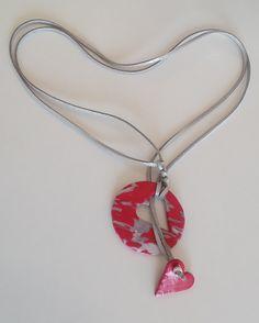 "Halskette ""puzzleheart""Halsschmuck – Unikate Schmuck Fashion Jewelry, Pendant Necklace, Michaela, Handmade, Jewel, Fimo, Neck Chain, Hand Made, Trendy Fashion Jewelry"