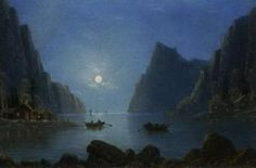 Rowing on a fjord at dusk. Rowing on a fjord by moonlight by NILS H CHRISTIANSEN
